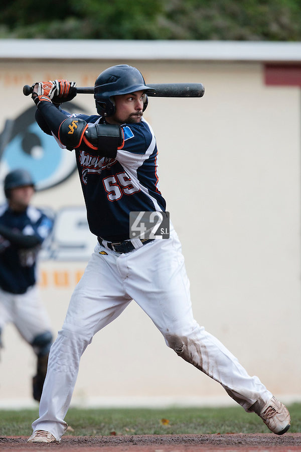 23 October 2010: Florian Peyrichou of Savigny is seen at bat during Savigny 8-7 win (in 12 innings) over Rouen, during game 3 of the French championship finals, in Rouen, France.