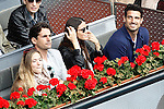 Spanish actress Patricia Montero and her husband the actor Alex Adrover with the ex football player Aitor Ocio (r) and his girlfriend during Madrid Open Tennis 2016 Semifinal match.May, 7, 2016.(ALTERPHOTOS/Acero)