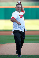 St. Lucie Mets coach and former Buffalo Bisons star Benny Distefano #21 throws out a ceremonial first pitch during the Triple-A All-Star game featuring the Pacific Coast League and International League top players at Coca-Cola Field on July 11, 2012 in Buffalo, New York.  PCL defeated the IL 3-0.  (Mike Janes/Four Seam Images)