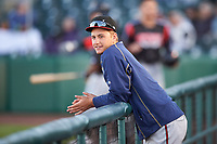 Lake Elsinore Storm pitcher Evan Miller (15) during a California League game against the Lancaster JetHawks on April 10, 2019 at The Hanger in Lancaster, California. Lake Elsinore defeated Lancaster 10-0 in the first game of a doubleheader. (Zachary Lucy/Four Seam Images)