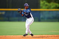 GCL Rays shortstop Luis Leon (1) during the first game of a doubleheader against the GCL Twins on July 18, 2017 at Charlotte Sports Park in Port Charlotte, Florida.  GCL Twins defeated the GCL Rays 11-5 in a continuation of a game that was suspended on July 17th at CenturyLink Sports Complex in Fort Myers, Florida due to inclement weather.  (Mike Janes/Four Seam Images)