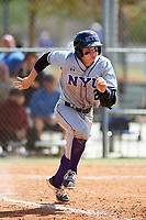 New York University Violets second baseman Ryan McLaughlin (21) runs to first base during a game against the Edgewood Eagles on March 14, 2017 at Terry Park in Fort Myers, Florida.  NYU defeated Edgewood 12-7.  (Mike Janes/Four Seam Images)