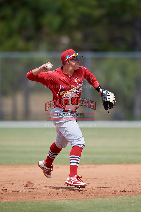 St. Louis Cardinals Andy Young (3) during a Minor League Spring Training game against the Miami Marlins on March 26, 2018 at the Roger Dean Stadium Complex in Jupiter, Florida.  (Mike Janes/Four Seam Images)