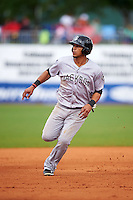 Jackson Generals third baseman Leury Bonilla (12) running the bases during a game against the Montgomery Biscuits on April 29, 2015 at Riverwalk Stadium in Montgomery, Alabama.  Jackson defeated Montgomery 4-3.  (Mike Janes/Four Seam Images)