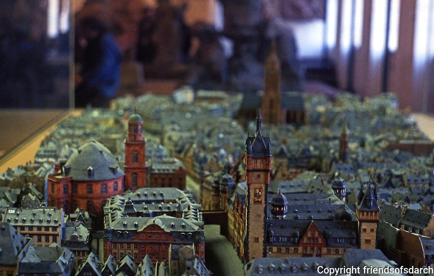 Frankfurt: Old Frankfurt Model--looking east to Paauschurch, Romer and DOM.
