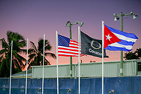 GEORGETOWN, GRAND CAYMAN, CAYMAN ISLANDS - NOVEMBER 19: Nations flags fly over Truman Bodden Sports Complex during a game between Cuba and USMNT at Truman Bodden Sports Complex on November 19, 2019 in Georgetown, Grand Cayman.