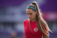 ORLANDO, FL - FEBRUARY 24: Shelina Zadorsky #4 of the CANWNT warming up before a game between Brazil and Canada at Exploria Stadium on February 24, 2021 in Orlando, Florida.