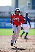 GCL Red Sox third baseman Roldani Baldwin (7) running the bases during the first game of a doubleheader against the GCL Rays on August 4, 2015 at Charlotte Sports Park in Port Charlotte, Florida.  GCL Red Sox defeated the GCL Rays 10-2.  (Mike Janes/Four Seam Images)