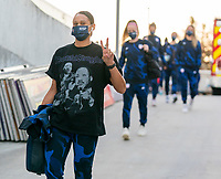 ORLANDO, FL - JANUARY 18: Lynn Williams #6 of the USWNT walks into the venue before a game between Colombia and USWNT at Exploria Stadium on January 18, 2021 in Orlando, Florida.