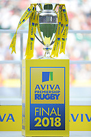 The trophy on display at the end of the Aviva Premiership Rugby Final between Exeter Chiefs and Saracens at Twickenham Stadium on Saturday 26th May 2018 (Photo by Rob Munro/Stewart Communications)