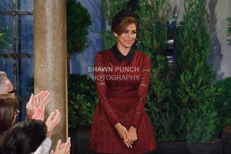 Actress and designer Eva Mendes thanks audience for attending her Eva Mendes for New York & Company Spring Summer 2017 fashion show, on September 6 2016, at Academy Mansion during New York Fashion Week Spring Summer 2017.