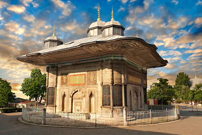 The Fountain of Sultan Ahmed III (Turkish: III. Ahmet Çemesi) is a fountain in a Turkish rococo structure built in 1728 in the style of the Tulip period,  located in the great square in front of the Imperial Gate of Topkap Palace in Istanbul, Turkey.