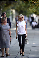 Pictured: The wives of the two Presidents Brigitte Macron (R)with Vlassia Pavlopoulou-Peltsemi (L) at the Presidential Mansion in Athens, Greece. Thurday 07 September 2017<br /> Re: The official welcome of French President Emmanuel Macron for his state visit to Athens, Greece.