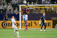 CARSON, CA - SEPTEMBER 19: Auston Trusty #5 of the Colorado Rapids  heads a ball during a game between Colorado Rapids and Los Angeles Galaxy at Dignity Heath Sports Park on September 19, 2020 in Carson, California.