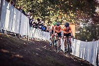 Dutch Women's race lead protagonists Denise Betsema, Annemarie Worst and Marianne Vos. <br /> <br /> UEC CYCLO-CROSS EUROPEAN CHAMPIONSHIPS 2018<br /> 's-Hertogenbosch – The Netherlands<br /> Women's Elite Race