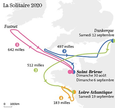 The four stages of the Figaro Solitaire, September 2020.