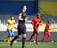 Match referee pictured during a friendly soccer game between KVC Westerlo and Belgium U21 on Tuesday 30 th of March 2021  in Het Kuipje , Westerlo Belgium . PHOTO SPORTPIX.BE | SPP | SEVIL OKTEM