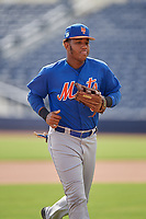 GCL Mets right fielder Edinson Valdez (3) jogs back to the dugout during the first game of a doubleheader against the GCL Nationals on July 22, 2017 at The Ballpark of the Palm Beaches in Palm Beach, Florida.  GCL Mets defeated the GCL Nationals 1-0 in a seven inning game that originally started on July 17th.  (Mike Janes/Four Seam Images)