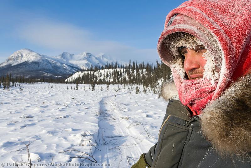 Trapper with marten caught in a classic pole set, Brooks Range, Alaska.