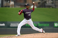 Pitcher Yoan Aybar (37) of the Greenville Drive delivers a pitch in a game against the Delmarva Shorebirds on Friday, August 2, 2019, in the continuation of rain-shortened game begun August 1, at Fluor Field at the West End in Greenville, South Carolina. Delmarva won, 8-5. (Tom Priddy/Four Seam Images)