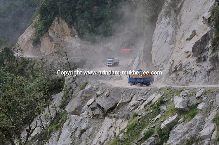 A landslide prone zone on the highway of Thimpu - Phuntsholing.  Arindam Mukherjee..