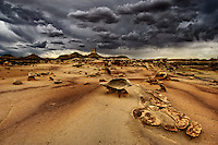 The alien landscape around The Eagle's Nest in the Bisti Wilderness in the San Juan Basin of northwestern New Mexico.