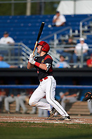 Batavia Muckdogs catcher Jared Barnes (26) hits a double during the first game of a doubleheader against the Mahoning Valley Scrappers on August 28, 2017 at Dwyer Stadium in Batavia, New York.  Mahoning Valley defeated Batavia 6-3.  (Mike Janes/Four Seam Images)