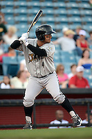 Omaha Storm Chasers third baseman Christian Colon (4) at bat during the first game of a double header against the Nashville Sounds on May 21, 2014 at Herschel Greer Stadium in Nashville, Tennessee.  Nashville defeated Omaha 5-4.  (Mike Janes/Four Seam Images)