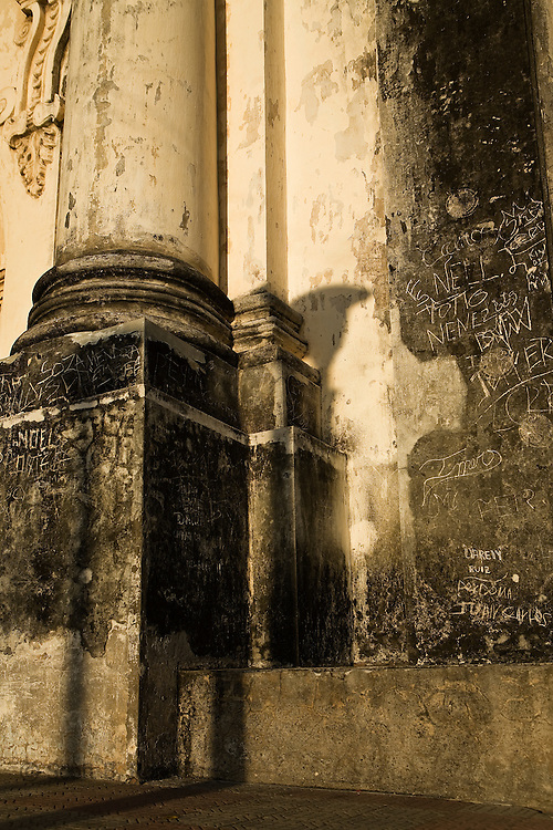 Detail of the Catedral de Leon architecture with grafitti, Leon Nicaragua