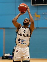 Cortez Edwards of Newcastle Eagles with a free-throw during the BBL Championship match between Surrey Scorchers and Newcastle Eagles at Surrey Sports Park, Guildford, England on 20 March 2021. Photo by Liam McAvoy.