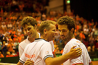 14-sept.-2013,Netherlands, Groningen,  Martini Plaza, Tennis, DavisCup Netherlands-Austria, Doubles,  Robin Haase and Jean-Julien Rojer win the doubles and are being congratulated by their captain Jan Siemerink (NED)<br /> Photo: Henk Koster