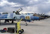 - base aerea NATO di Decimomannu (Sardegna), caccia USA F5 Aggressor che simulano gli aerei Sovietici nelle esercitazioni di combattimento aereo<br /> <br /> - Decimomannu NATO air base (Sardinia), F 5 Aggressor U.S. fighters simulating Soviet aircrafts in air combat exercises