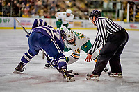 9 February 2019: University of Vermont Catamount Forward Johnny DeRoche, a Freshman from Lynnfield, MA, takes a second period face-off against the University of New Hampshire Wildcats at Gutterson Fieldhouse in Burlington, Vermont. The Catamounts defeated the Wildcats 4-1 to split their 2-game Hockey East weekend series. Mandatory Credit: Ed Wolfstein Photo *** RAW (NEF) Image File Available ***
