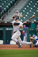 Scranton/Wilkes-Barre RailRiders Trey Amburgey (29) hits a single during an International League game against the Buffalo Bisons on June 5, 2019 at Sahlen Field in Buffalo, New York.  Scranton defeated Buffalo 3-0, the first game of a doubleheader.  (Mike Janes/Four Seam Images)