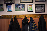 Stafford Rangers 2 Chasetown 1, 26/12/2015. Marston Road, Northern Premier League. Vintage programmes and photographs on display at the social club at Marston Road, home of Stafford Rangers before they played local rivals Chasetown in a Northern Premier League first division south fixture. The club has played at Marston Road since 1896 and achieved prominence in the 1970s and 1980s as one of England's top non-League teams. League leaders Stafford won this match 2-1, despite having a man sent off, watched by a season's best attendance of 978. Photo by Colin McPherson.