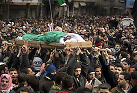 A demonstation at the funeral of Mazen Abu Dahab in the Sakba district of Damascus. He was reported to have been shot by security forces. Sakba is a suburb of Damascus that has been one of the main centres of anti-regime activity.