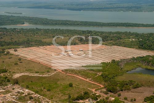 Itaituba, Brazil. Aerial view of social housing development at Piracanã II beside the Tapajos River.