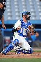 Hartford Yard Goats catcher Ashley Graeter (0) during the second game of a doubleheader against the Trenton Thunder on June 1, 2016 at Sen. Thomas J. Dodd Memorial Stadium in Norwich, Connecticut.  Trenton defeated Hartford 2-1.  (Mike Janes/Four Seam Images)