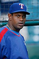 Sammy Sosa of the Texas Rangers during batting practice before a game against the Los Angeles Angels in a 2007 MLB season game at Angel Stadium in Anaheim, California. (Larry Goren/Four Seam Images)