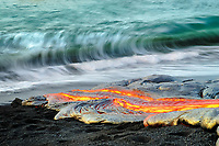 Glow from large lava flow behind photographer, Moonlit night lava flow, TEB, Thanksgiving Eve Breakout flow, Waikupanaha lava ocean entry, Kilauea volcano, East of Hawaii Volcanoes National Park, Big Island, Hawaii, USA