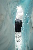 Beautiful icy features on Franz Josef Glacier, Westland Tai Poutini National Park, West Coast, UNESCO World Heritage Area, New Zealand, NZ