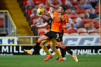 2nd October 2020; Tannadice Park, Dundee, Scotland; Scottish Premiership Football, Dundee United versus Livingston; Adrian Sporle of Dundee United challenges for the ball with Nicky Devlin of Livingston