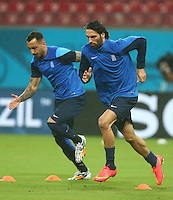 Konstantinos Mitroglou and Georgios Samaras of Greece in action during the training session ahead of tomorrow's fixture vs Costa Rica