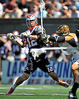 24 August 2008: Denver Outlaws' Midfielder Peter Striebel in action against the Rochester Rattlers at the Championship Game of the Major League Lacrosse Championship Weekend at Harvard Stadium in Boston, MA. The Rattles took control of the second half to defeat the Outlaws 16-6 and take the league honor for the 2008 season...Mandatory Photo Credit: Ed Wolfstein Photo
