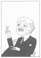 MAX BEERBOHM  Writer and artist / Cartoon by Powys Evans in Saturday Review 1926 88 CARTOONS no 76 / 1872-1956