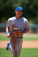 AZL Royals shortstop Bobby Witt Jr. (17) jogs off the field between innings of an Arizona League game against the AZL Dodgers Lasorda on July 4, 2019 at Camelback Ranch in Glendale, Arizona. The AZL Royals defeated the AZL Dodgers Lasorda 4-1. (Zachary Lucy/Four Seam Images)