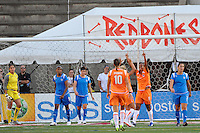 Rosana (11) of Sky Blue FC celebrates scoring with teammates during a WPS regular season match against the Boston Breakers at Harvard Stadium in Boston, MA, on July 12, 2009.
