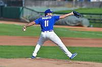 Ogden Raptors starting pitcher Jairo Pacheco (11) delivers a pitch to the plate against the Idaho Falls Chukars in Pioneer League action at Lindquist Field on September 3, 2016 in Ogden, Utah. The Chukars defeated the Raptors 3-0. (Stephen Smith/Four Seam Images)
