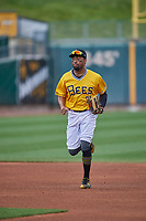 Jo Adell (7) of the Salt Lake Bees trots off the field against the Tacoma Rainiers at Smith's Ballpark on May 16, 2021 in Salt Lake City, Utah. The Bees defeated the Rainiers 8-7. (Stephen Smith/Four Seam Images)