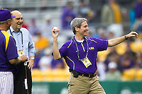 LSU Tigers public address announcer Bill Franques throws a ceremonial first pitch before the Tigers game against Auburn on March 23, 2013 at Alex Box Stadium in Baton Rouge, Louisiana. LSU defeated Auburn 5-1. (Andrew Woolley/Four Seam Images).